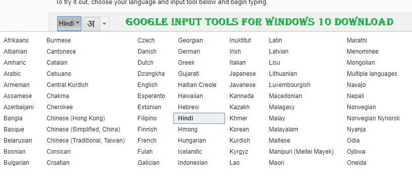 google input tools for windows 10 64 bit