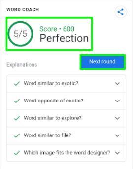 google word coach score