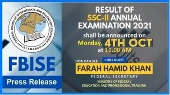 FBISE SSC 2 Result 2021 Final Date And Time